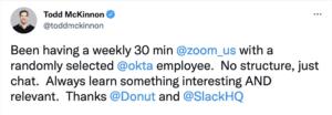 Okta CEO Tweet about Donut Coffee Lottery